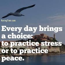 You don't have to practice stress it is automatic. Now practising peace is harder to do and therefore generally a second or no choice.  Have yourself a peaceful weekend