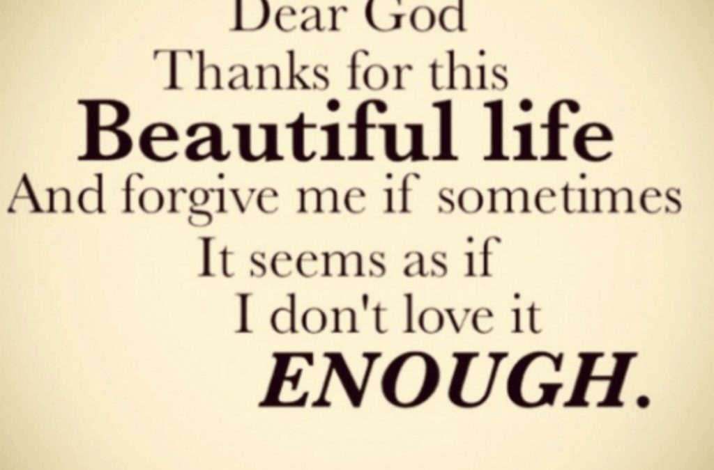 Dear God thanks for this Beautiful life and forgive me if sometimes it seems as if I don't love it Enough